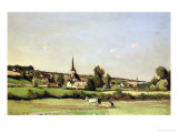 An Extensive Landscape with a Ploughman and a Village Beyond, 1887