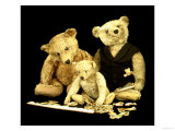 A Selection of Steiff Teddy Bears Doing a Jigsaw Puzzle