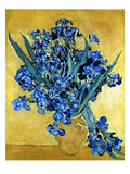 Buy Vase of Irises Against a Yellow Background, c.1890 at AllPosters.com