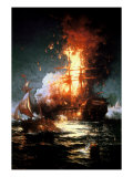 Burning of the Frigate Philadelphia Giclee Print