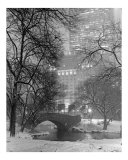 Gapstow Bridge View to Plaza Hotel in Snowstorm - Central Park, New York Photographic Print