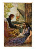 Postcard Depicting George Sand Listening to Frederic Chopin Play the Piano, 1917