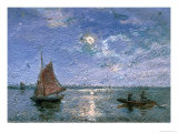 Fishing Boats by Moonlight Giclee Print