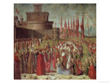 The Pilgrims Meet Pope Cyriac Before the Walls of Rome, from the St. Ursula Cycle, 1498