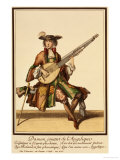 Gentleman Playing the Angelica, Fashion Plate, circa 1695