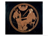 Attic Red-Figure Cup Depicting Phoenix and Briseis, Achilles' Captive, Greek, circa 490 BC