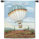 Balloon over Poppy Wall Tapestry