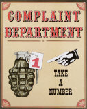 Complaint Department Tin Sign