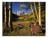 Maroon Bells, Aspen Trees & Rock