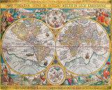 Antique Map, Orbis Terrarum, 1636 Art Print