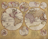 Antique Map, Globe Terrestre, 1690