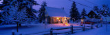 Log House with Christmas Lights, Laurentians, Canada Fotografie-Druck