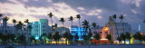 Buildings Lit Up at Dusk, Ocean Drive, Miami Beach, Florida, USA