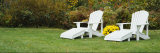 White Adirondack Chairs on a Lawn, Stowe, Vermont, USA