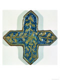 Cruciform Overglaze Leaf-Gilded Tile in the Style of Takht-E Solaiman, 13th-14th Century