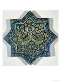 Star-Shaped Overglaze Leaf-Gilded Tile in the Style of Takht-E Solaiman, 13th-14th Century