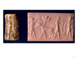 Akkadian Seal of a Man Holding an Ox Which Pulls a Seed-Plough, 2200 BC