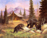 Bears on Log