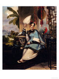 Portrait of a Girl, Seated Small Full Length in a Blue Robe, Holding a Fan by a Window with Parrot
