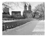 View from Bow Bridge in Winter - Central Park, New York - B/W Photograph Photographic Print