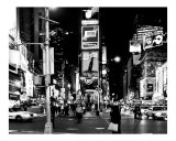 Times Square Evening - Manhattan, New York City - B&W Photograph Photographic Print