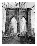 Brooklyn Bridge Pier or Tower - New York - B/W Photograph Photographic Print