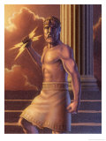 Zeus Holding Lightning Bolts