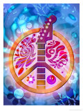 60s Style Peace Sign with Guitar Neck