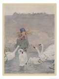 Esmilda Sitting Unhappily at the Water's Edge is Consoled by Sympathising Swans