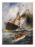 Abandon Ship! the Crew of a Torpedoed British Ship Take to the Boats as Their Vessel Keels Over
