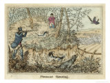 Pheasant, Two Men and Their Dogs Shoot from a Clearing Giclee Print