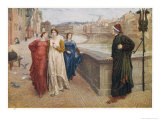 Dante Alighieri Italian Writer Meeting His Beloved Beatrice Portinari on the Lung'Arno Florence