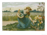 Girl Picking Tulips
