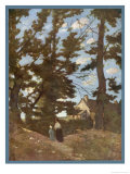 Landscape Somewhere in France. a Woman and Child Walk Beneath Trees