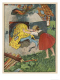 Gretel Seizes Her Opportunity and Pushes the Wicked Witch into the Oven