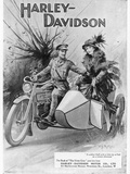 An Advertisement for Harley- Davidson Showing a Soldier Taking His Lady Friend for a Ride