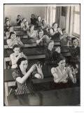 Class of Young Women Learning Sign Language at a School for the Deaf