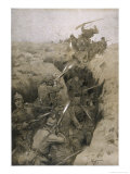 Germans Repel a French Attack on the Trenches in Champagne France Giclee Print