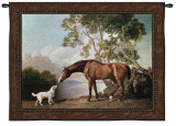 Bay Horse and White Dog Wall Tapestry