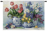 Spring Garden in Blue Wall Tapestry