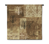 Abstract Damask Flax Square Wall Tapestry