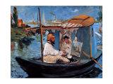 Claude Monet et sa femme dans son studio flottant