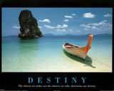 Destiny Boat on Beach Motivational Art Print Poster