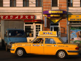 New Yellow Taxi in the Street, Moscow, Russia Photographic Print