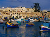 Luzzus, Traditional Fishing Boats Moored in Harbour, Marsaxlokk, Malta