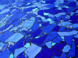 Blue-Glass Mosaic with Water Flowing Over Surface, Helsingborg, Skane, Sweden