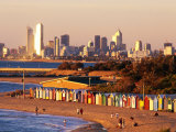 Brighton Beach Boatsheds with City in Background, Melbourne, Australia