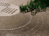 Raked Gravel Zen Garden at Eikando Temple, Kyoto, Japan