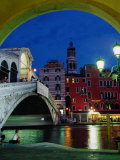Buy Rialto Bridge at Night, Venice, Veneto, Italy at AllPosters.com