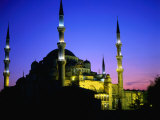The Blue Mosque of Sultan Ahmed I (Built Between 1609 and 1616) at Night, Istanbul, Turkey